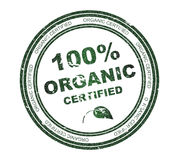 Bollo rotondo con testo 100% organico Immagine Stock