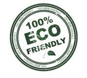 Bollo rotondo con testo: Eco 100% amichevole Fotografia Stock