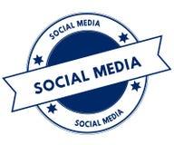 Bollo SOCIALE blu di MEDIA Fotografia Stock