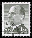 Bollo stampato in Repubblica democratica tedesca - la Germania orientale mostra il presidente Walter Ulbricht Fotografia Stock