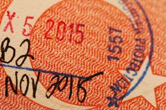 Bollo su un passaporto turco immagine stock libera da diritti