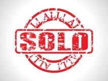 Bollo venduto colore rosso astratto con grunge Fotografia Stock Libera da Diritti