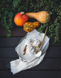 Bollos de la calabaza del canela con la formación de hielo cremosa del queso y calabazas maduras Fotografía de archivo