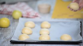 Bollos de la levadura antes de cocer, mentira en el molde para el horno con el papel de la hornada Proceso de cocinar metrajes