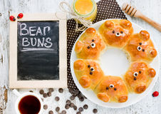 Bollos del oso Bre formado oso ridículo adorable de la leche del tirón-aparte Imagenes de archivo