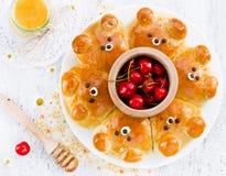 Bollos del oso Bre formado oso ridículo adorable de la leche del tirón-aparte Foto de archivo libre de regalías