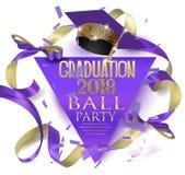 Bollparti för avläggande av examen 2018 med hatten, bandet och konfettier vektor illustrationer