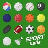 Bollspeluppsättning Sport- och lekungar klumpa ihop sig för hockey för bambinton för fotboll för fotboll för volleybollbaseballte vektor illustrationer