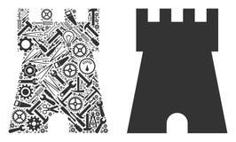 Bollwerks-Turm-Mosaik von Reparatur-Werkzeugen vektor abbildung