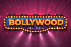 Bollywood background. Indian cinema poster with text and spot light, Indian cinematography stage. Vector 3D Bollywood royalty free illustration