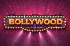 Bollywood bakgrund Indisk bioaffisch med text och fläckljus, indisk filmkonstetapp Vektor 3D Bollywood royaltyfri illustrationer