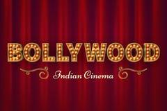 Bollywood bioaffisch För filmvektor för tappning indisk klassisk bakgrund med röda gardiner royaltyfri illustrationer