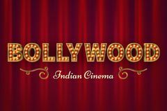 Bollywood cinema poster. Vintage indian classic movie vector background with red curtains royalty free illustration