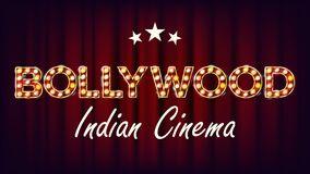 Bollywood Indian Cinema Banner Vector. Vintage Cinema 3D Glowing Element. For Cinematography Advertising Design. Retro. Bollywood Indian Cinema Banner Vector vector illustration