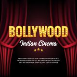 Bollywood Indian Cinema Film Banner. Indian Cinema Logo Sign Design Glowing Element with Stage and Curtains.  Royalty Free Stock Image
