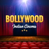 Bollywood Indian Cinema Film Banner. Indian Cinema Logo Sign Design Glowing Element with Stage and Curtains.  stock illustration