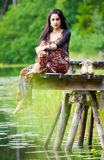 Bollywood model on wooden bridge Royalty Free Stock Image