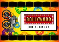 Bollywood Online Cinema, film projector. Indian Bollywood Online Cinema Banner for web yellow background design. Movie screen, poster with beautiful patterns in vector illustration