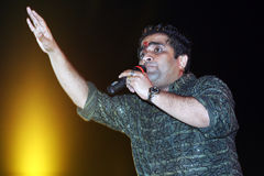 Bollywood playback singer. Kunal Ganjawala is performing in a stage show in India Royalty Free Stock Photo