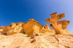 Bolnuevo Mazarron eroderade sandstenar Murcia Arkivfoto
