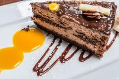 Bolo alaranjado do chocolate Foto de Stock