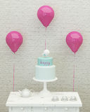 Bolo, balões e presentes de aniversário para a menina 3d Fotos de Stock Royalty Free