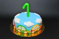 Bolo birhtday da celebração do bebê de um ano Imagens de Stock Royalty Free