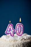 Bolo: Bolo de aniversário com velas para o 40th aniversário Imagens de Stock Royalty Free
