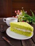 Bolo, café e bolo do chá verde de Tailândia Matcha Imagens de Stock Royalty Free
