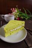 Bolo, café e bolo do chá verde de Tailândia Matcha Imagens de Stock