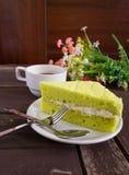 Bolo, café e bolo do chá verde de Tailândia Matcha Imagem de Stock