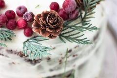 Bolo caseiro caseiro com o caqui decorado com queijo creme da geada e polvilhado com o chocolate na decoração do ano novo Foto de Stock