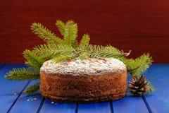 Bolo caseiro do Natal do fruto do chocolate com farelo verde da árvore da pele Fotos de Stock Royalty Free