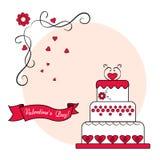 Bolo com a fita no fundo cor-de-rosa redondo Cartão festivo vermelho, preto e branco para o dia de Valentim Vetor ilustração stock