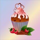 Bolo com framboesa, chocolate e hortelã ilustração royalty free