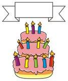 Bolo com velas coloridas ilustração royalty free
