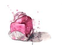 Bolo congelado cor-de-rosa Imagens de Stock