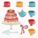bolo, copos e bule dos desenhos animados Vetor Fotografia de Stock