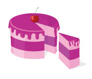 Bolo cor-de-rosa cortado vetor Imagens de Stock