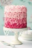 Bolo cor-de-rosa do ombre Imagens de Stock