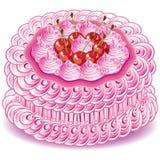 Bolo cor-de-rosa doce Imagem de Stock