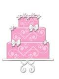 Bolo cor-de-rosa extravagante Fotografia de Stock Royalty Free