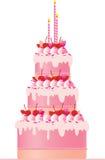 Bolo cor-de-rosa festivo Imagens de Stock Royalty Free