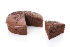 Bolo cortado do fudge de chocolate fotos de stock