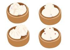 Bolo cozinhado do material, dim sum no navio de bambu e culinária chinesa no fundo branco ilustração do vetor