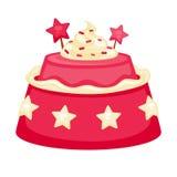 Bolo cremoso cor-de-rosa com as decorações no formulário das estrelas isoladas Imagem de Stock Royalty Free