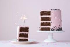Bolo da celebração com chuveirinho Imagens de Stock Royalty Free