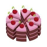 Bolo da cereja Partes de bolo do feriado ilustração do vetor