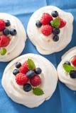 Bolo da merengue de Pavlova com creme e baga Fotos de Stock Royalty Free
