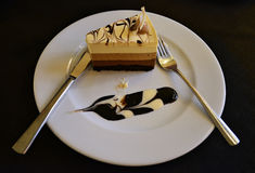 Bolo da musse de chocolate três Fotografia de Stock Royalty Free